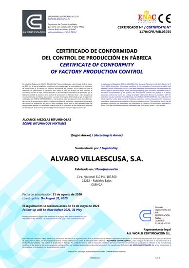 Certificado de Mezclas Bituminosas