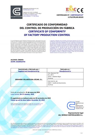 Certificado de Áridos