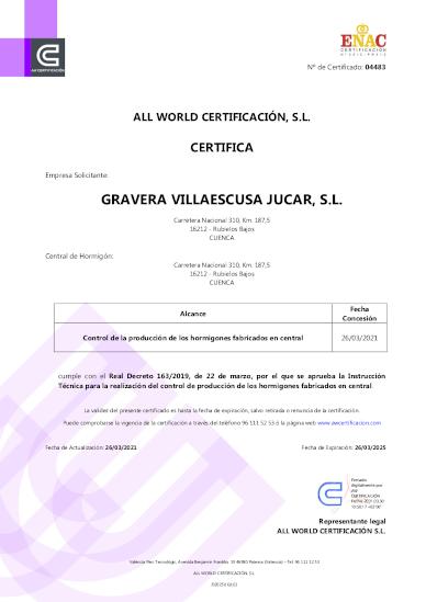 Certificado Control de Producción en Fábrica Rubielos Bajos