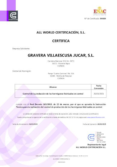 Certificado Control de Producción en Fábrica Motilla del Palancar