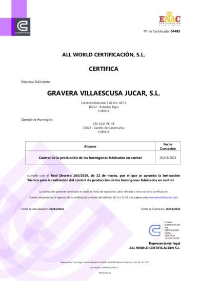 Certificado Control de Producción en Fábrica Castillo de Garcimuñoz