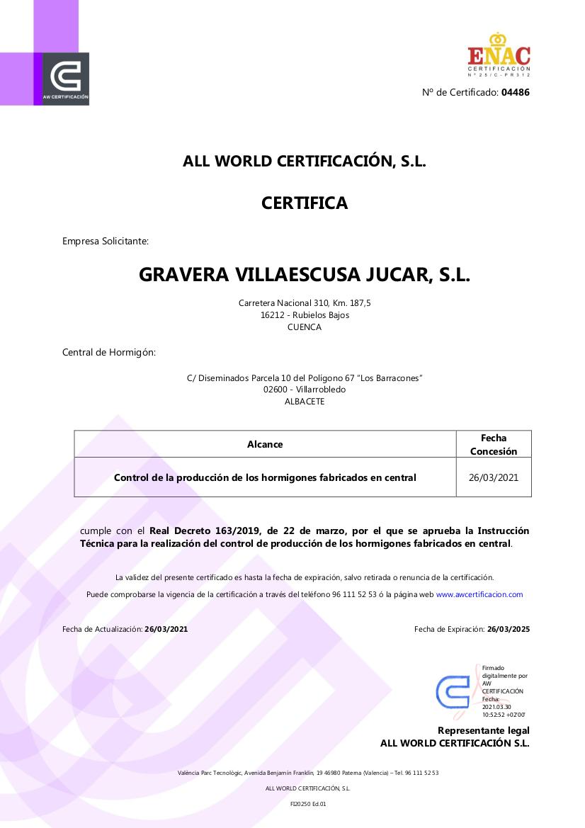Certificado Control de Producción en Fábrica Villarrobledo