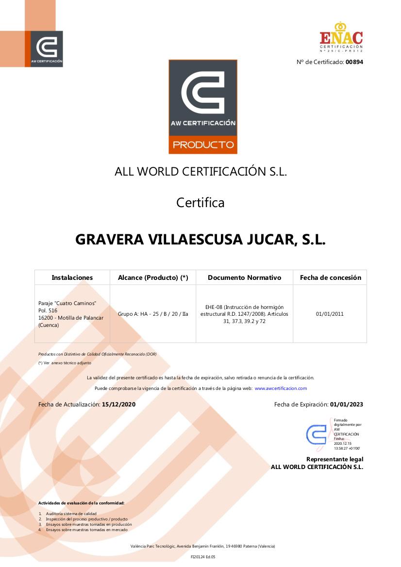 Certificado de Producto Hormigón Motilla del Palancar