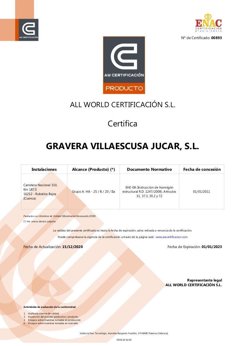 Certificado de Producto Hormigón Rubielos Bajos